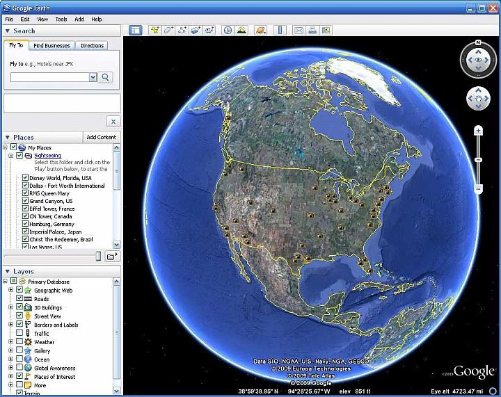 Google Earth D Street View - World satellite map live online
